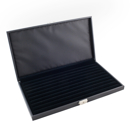 LOCKABLE RING CASE DISPLAY STORAGE BOX WITH 9 RING ROWS