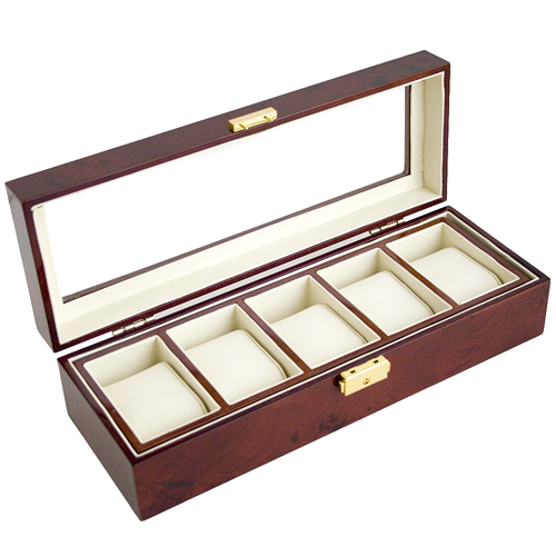 BURLWOOD FINISH WATCH CASE GLASS CLEAR TOP DISPLAY STORAGE BOX HOLDS 5 WATCHES AND JEWELRY WITH REMOVABLE INNER DIVIDER