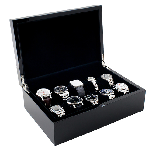 Piano Black Wood Watch Case with Solid Top Holds 10 Watches, Adjustable Soft Pillows, High Clearance for Large Watches