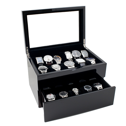 Piano Black Wood Watch Case with Glass Top Holds 20+ Watches, Adjustable Soft Pillows, High Clearance for Large Watches