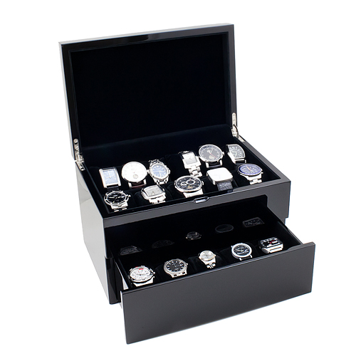 Piano Black Wood Watch Case with Solid Top Holds 20+ Watches, Adjustable Soft Pillows, High Clearance for Large Watches