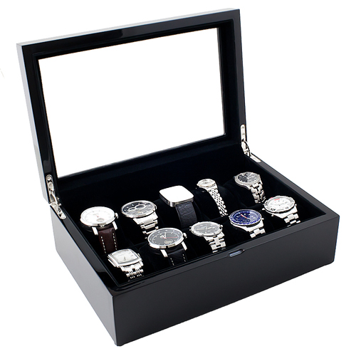 Piano Black Wood Watch Case with Glass Top Holds 10 Watches, Adjustable Soft Pillows, High Clearance for Large Watches