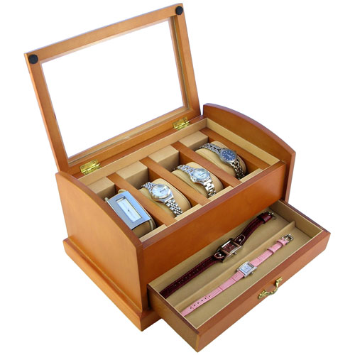 OAK WOOD FINISH DUAL LEVEL GLASS CLEAR TOP DISPLAY CASE STORAGE BOX HOLDS 7 WATCHES