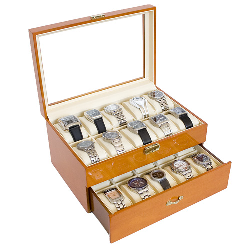 OAK WOOD FINISH WATCH CASE JEWELRY DISPLAY BOX WITH GLASS CLEAR TOP HOLDS 20 WATCHES