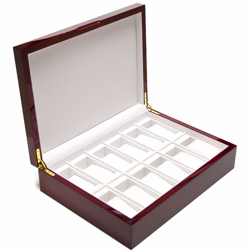 EXECUTIVE ROSEWOOD PIANO FINISH 12 WATCH DISPLAY CASE