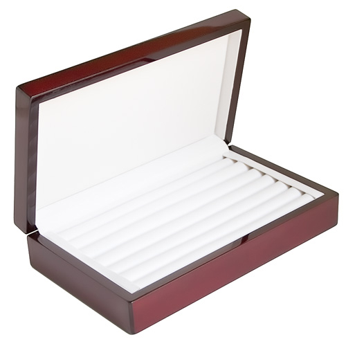 ROSEWOOD FINISH RING CASE DISPLAY STORAGE BOX WITH RING ROWS