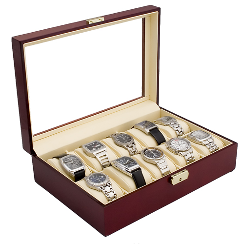 ROSEWOOD FINISH WATCH CASE JEWELRY DISPLAY BOX WITH GLASS CLEAR TOP HOLDS 10 WATCHES