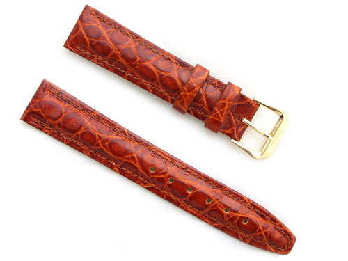 AFRICAN CROCODILE GRAIN LEATHER--CHESTNUT