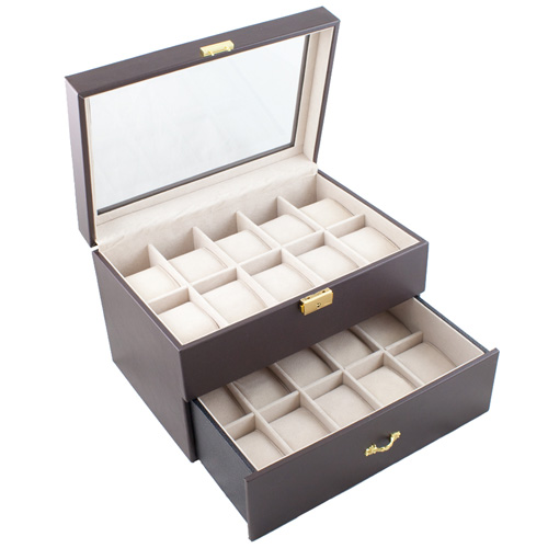 DARK BROWN GLASS TOP WATCH CASE JEWELRY DISPLAY BOX HOLDS 20 WATCHES-IMPROVED WIDTH AND CLEARANCE FOR EXTRA LARGE WATCHES
