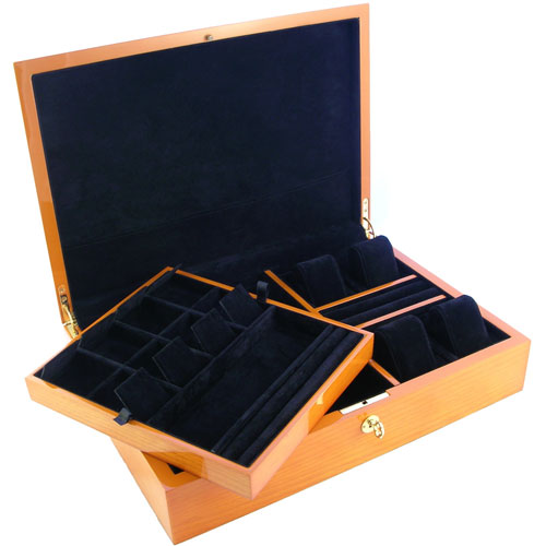 BEECHWOOD FINISH WATCH/JEWELRY CASE