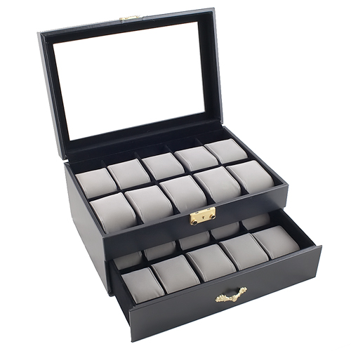 CLASSIC WATCH CASE DUAL LEVEL GLASS CLEAR TOP DISPLAY STORAGE BOX HOLDS 20 WATCHES AND JEWELRY
