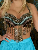 Tribal Beaded Top with Coins & Metal Fringe