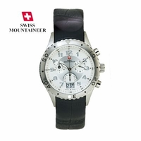 Mens Chrono Swiss Watch Leather Strap