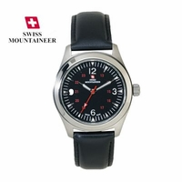 Swiss Mountaineer Titanium Watch Leather Strap