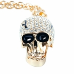 Gold Crystal Skull Pendant Necklace with Quality Gold Plated Chain