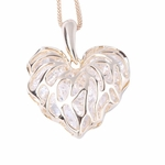 Ladies Gold Filigree Heart Pendant Necklace with Crystals Quality