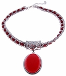 Ladies Fashion Necklace Large Red Drop Pendant