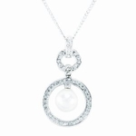 Womens Pearl Drop Pendant Necklace