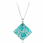 Womens Square Turqoise Pendant Necklace