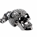 Black Crystal Skull Pendant Necklace
