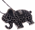 Black Elephant Crystal Pendant Necklace Jewelry