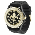 Black/Gold Fleur De Lis Watch