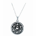 Mens Heart Design Round Pendant Necklace