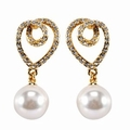 Riana Womens Gold Plated Pearl Drop Earrings