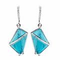 Riana Womens Turqoise Drop Earrings Rhodium Plated