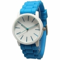 White Dial Blue Silicone Band Watch