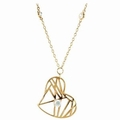 Womens Heart Shape Wire Pendant Necklace