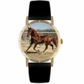 American Saddlebred Horse Print Watch in Gold Classic P 0110024
