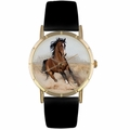 Arabian Horse Print Watch in Gold Classic P 0110023