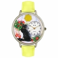 Basking Cat Watch in Silver Unisex U 0120010