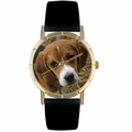 Beagle Print Watch in Gold Classic P 0130007