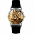 Bengal Cat Print Watch in Silver Classic R 0120043