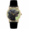 Black Labrador Retriever Print Watch in Gold Classic P 0130082