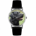 Black Labrador Retriever Print Watch in Silver Classic R 0130082