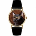 Bombay Cat Print Watch in Gold Classic P 0120037
