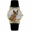 Chihuahua Print Watch in Gold Classic P 0130023