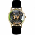 Dachshund Print Watch in Gold Classic P 0130034