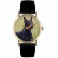 Doberman Print Watch in Gold Classic P 0130035