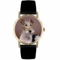 Fox Terrier Print Watch in Gold Classic P 0130039