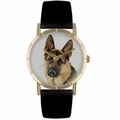 German Shepherd Print Watch in Gold Classic P 0130040