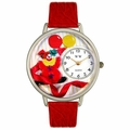 Happy Red Clown Watch in Silver Unisex U 0210003