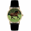 Holsteiner Horse Print Watch in Gold Classic P 0110028