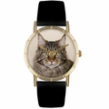 Main Coon Cat Print Watch in Gold Classic P 0120051