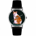 Manx Cat Print Watch in Silver Classic R 0120045
