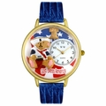 Patriotic Teddy Bear Watch in Gold or Silver Unisex G 0230004