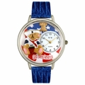 Patriotic Teddy Bear Watch in Silver Unisex U 0230004